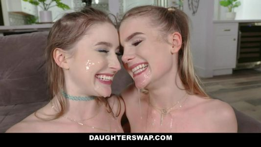Natalie Knight and Laney Grey swap cum at Daughter Swap