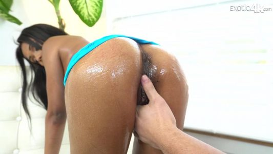 Tiffany Nunez gets her perfectly round Latin ass covered in oil