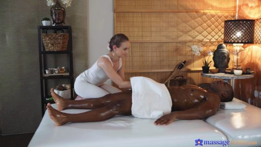 Petite babe massages well-endowed Black stud